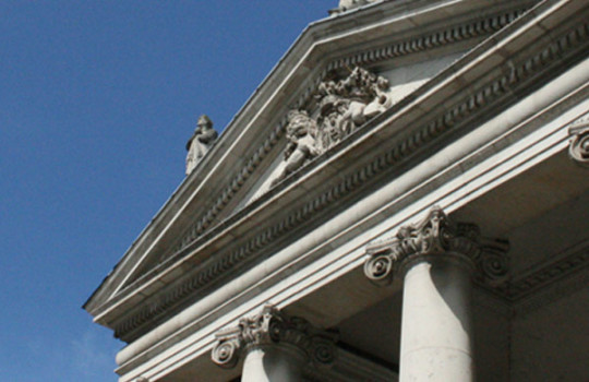Ways to bank, branch banking, apex and roman columns on Bank of Ireland College Green building