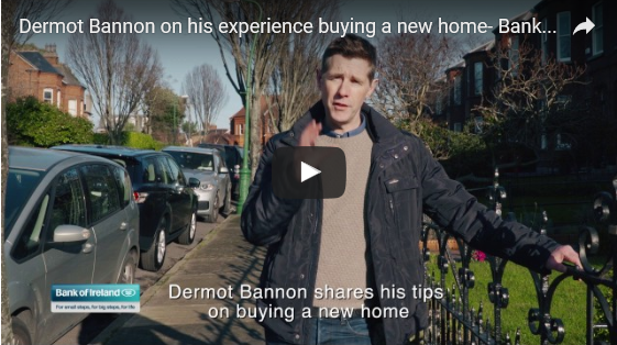 Mortgage articles, man on a street, video play button, overlay text reads Dermot Bannon shares his tips on buying a new home