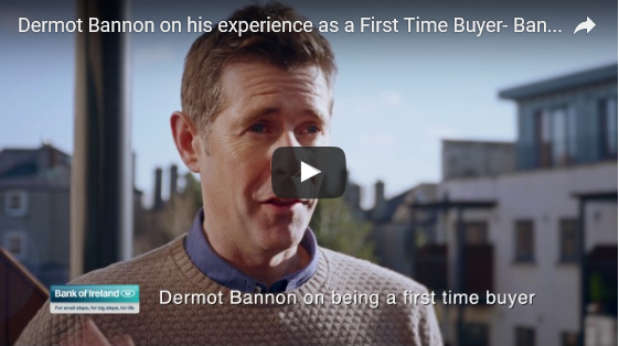 Mortgage articles, man in front of houses, video play button, overlay text reads Dermot Bannon on being a first time buyer
