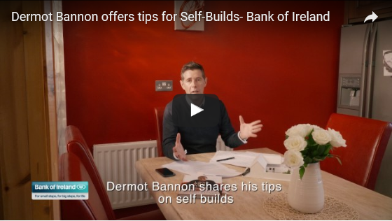 Mortgage articles, man at kitchen table, video play button, overlay text reads Dermot Bannon shares his tips on self builds