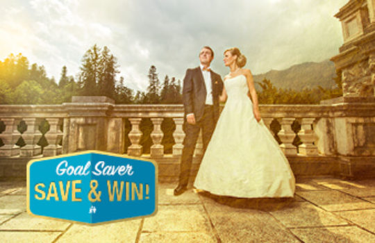 Savings goals guide, wedding couple standing on outside balcony of period house, overlay text reads goal saver save and win