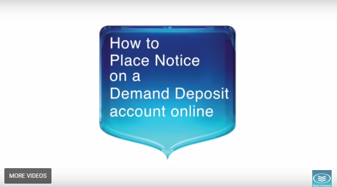 Placing notice on a deposit account